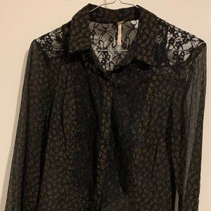 Free People All That Glitters Blouse Size XS